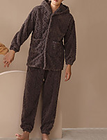 cheap -Adults' Kigurumi Pajamas Nightwear Bear Onesie Pajamas Flannelette Coffee Cosplay For Men and Women Animal Sleepwear Cartoon Festival / Holiday Costumes / Pants / Hoodie