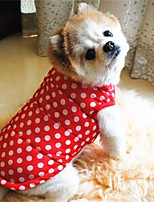 cheap -Dog Puffer / Down Jacket Polka Dot Cartoon Cute Festival Winter Dog Clothes Puppy Clothes Dog Outfits Warm Red Costume for Girl and Boy Dog Polyester Cotton S M L XL XXL