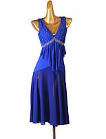 cheap -Latin Dance Dress Pleats Splicing Crystals / Rhinestones Women's Performance Sleeveless Chinlon Chiffon