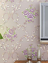 cheap -Wallpaper Wall Covering Sticker Film Peel And Stick Embossed Stripe American Pastoral Big Flower 3d Non Woven HomeDeco 53*100CM