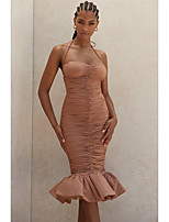 cheap -Mermaid / Trumpet Minimalist Sexy Homecoming Cocktail Party Dress Spaghetti Strap Sleeveless Tea Length Polyster with Ruched Ruffles 2021