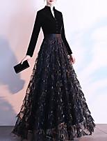 cheap -A-Line Sparkle Elegant Prom Formal Evening Dress Queen Anne Long Sleeve Floor Length Sequined Velvet with Sash / Ribbon Sequin 2021
