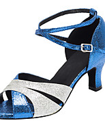 cheap -Women's Latin Shoes Professional Heel Splicing Thick Heel Open Toe Red Blue Silver Buckle Adults' Party Heels Party Collections