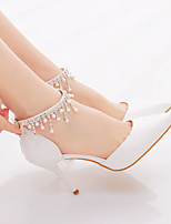 cheap -Women's Wedding Shoes Stiletto Heel Pointed Toe Wedding Office Faux Leather Rhinestone Pearl Solid Colored White