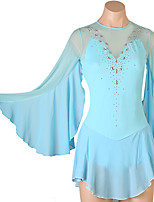 cheap -Figure Skating Dress Women's Girls' Ice Skating Dress Sky Blue Open Back Patchwork High Elasticity Training Competition Skating Wear Classic Long Sleeve Ice Skating Figure Skating