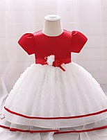 cheap -Kids Little Girls' Dress Solid Colored Party Special Occasion Mesh Red Knee-length Short Sleeve Cute Sweet Dresses Children's Day Fall Winter Slim 1-3 Years / Spring / Summer