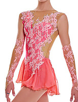 cheap -Figure Skating Dress Women's Girls' Ice Skating Dress Pink Patchwork Spandex High Elasticity Training Competition Skating Wear Patchwork Long Sleeve Ice Skating Figure Skating