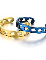cheap -Men Women Ring Geometrical Rose Gold Blue Gold Steel Lucky Classic 1pc Adjustable / Women's / Men's / Open Ring