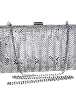 cheap -Women's Bags Polyester Evening Bag Crystals Chain Solid Color Party / Evening Daily Retro Evening Bag Chain Bag Silver Gold Black