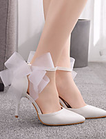 cheap -Women's Wedding Shoes Stiletto Heel Pointed Toe Wedding Office Faux Leather Bowknot Solid Colored White