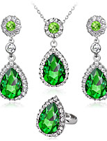 cheap -Women's Cubic Zirconia Bridal Jewelry Sets Geometrical Drop Fashion Earrings Jewelry Blue / Green / White For Party Gift Daily Festival 1 set