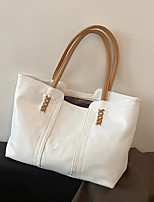 cheap -Women's Bags PU Leather Tote Top Handle Bag Zipper Plain Solid Color Daily Outdoor Retro Leather Bag Tote White Black