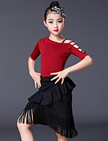 cheap -Latin Dance Skirts Tassel Girls' Training Performance Short Sleeve Elastane