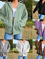 cheap -Women's Coat Hoodie Spandex Solid Color Sport Athleisure Jacket Top Long Sleeve Warm Soft Comfortable Everyday Use Casual Daily Outdoor Exercising / Winter