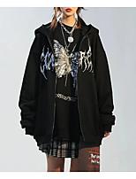 cheap -Women's Jacket Daily Fall Regular Coat Zipper Hoodie Loose Thermal Warm Casual Jacket Long Sleeve Butterfly Print Black