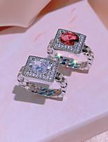 cheap -Women Ring AAA Cubic Zirconia Geometrical Burgundy Silver Brass Precious Stylish Luxury Elegant 1pc / Women's