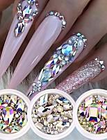 cheap -7 Box Glitter 3D Rhinestones AB Flat Back Shiny Stones Nail Art Decorations Mixed Size Nail Gems Crystal Strass Accessories
