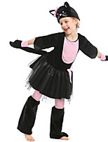 cheap -Cat Cosplay Costume Kid's Girls' Halloween Halloween Halloween Children's Day Festival / Holiday Terylene Black Easy Carnival Costumes Solid Color / Dress / Gloves / Hat