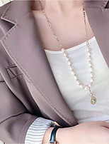 cheap -Long Necklace Women's Handmade Pearl White Lucky Simple Basic Korean Cute Sweet Lovely Gold 70 cm Necklace Jewelry 1pc for Christmas Halloween Gift Carnival Prom irregular
