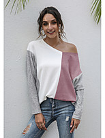 cheap -Women's T shirt Color Block Long Sleeve Patchwork V Neck Basic Tops Blushing Pink Gray Khaki