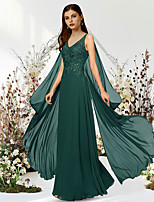 cheap -A-Line Empire Elegant Engagement Formal Evening Dress V Neck Sleeveless Floor Length Chiffon Lace with Sequin Appliques 2021