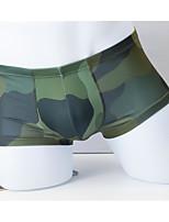 cheap -Men's Basic Simple Camo Sexy Panties Boxer Briefs High Elasticity Mid Waist Army Green M
