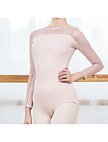 cheap -Ballet Dance Costumes Activewear Leotard / Onesie Lace Hollow-out Solid Women's Training Performance Long Sleeve Modal Nylon Cotton Blend
