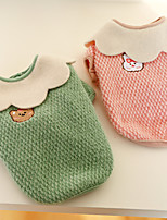 cheap -Dog Cat Coat Solid Colored Animal Adorable Cute Dailywear Casual / Daily Winter Dog Clothes Puppy Clothes Dog Outfits Pink Green Costume for Girl and Boy Dog Polyester XS S M L XL