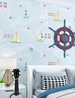 cheap -Wallpaper Wall Covering Sticker Film Embossed Stripe Children's Cartoon Sailing Ship Ocean Bluet Non Woven Home Decor 53*950CM