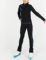 cheap -Figure Skating Jacket with Pants Women's Girls' Ice Skating Top Bottoms Blue Spandex High Elasticity Training Competition Skating Wear Crystal / Rhinestone Long Sleeve Ice Skating Figure Skating