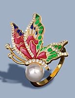 cheap -Women Ring AAA Cubic Zirconia Fancy Gold-Red Brass Butterfly Artistic Fashion Korean 1pc / Women's