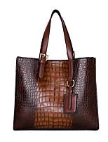 cheap -Women's Bags PU Leather Top Handle Bag Crocodile Office & Career Handbags Green Black Red Brown