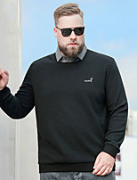 cheap -Men's T shirt Embroidery Plus Size 2 in 1 Stylish Long Sleeve Athleisure Tops Stylish Classic Style Gray Black