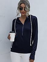 cheap -Women's Hoodie Sweatshirt Pullover Half Zip Front Pocket Hoodie Solid Color Sport Athleisure Hoodie Sweatshirt Top Long Sleeve Breathable Soft Comfortable Everyday Use Street Casual Daily Outdoor