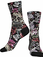 cheap -Socks Cycling Socks Men's Women's Bike / Cycling Breathable Soft Comfortable 1 Pair Skull Cotton Black S M L / Stretchy
