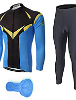 cheap -21Grams Men's Long Sleeve Cycling Jersey with Tights Spandex Bule / Black Bike Quick Dry Moisture Wicking Sports Patterned Mountain Bike MTB Road Bike Cycling Clothing Apparel / Stretchy / Athletic