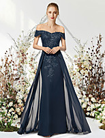 cheap -Mermaid / Trumpet Empire Elegant Wedding Guest Prom Dress Off Shoulder Sleeveless Floor Length Chiffon Lace with Beading Appliques 2021