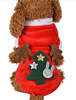 cheap -Dog Cat Christmas Costume Cute Christmas Dog Clothes Puppy Clothes Dog Outfits Red Costume for Girl and Boy Dog Flannel Fabric S M L