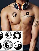 cheap -5 PCS Taiji Yin Yang Temporary Tattoo Sticker Waterproof Men Women Boys Girls Face Neck Hand Arm Makeup Tools