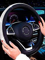 cheap -New Diamond Leather Steering Wheel Cover with Bling Bling Crystal Rhinestones Universal Fit 15 Inch Car Wheel Protector for Women Girls Black