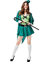 cheap -Magician Cosplay Costume Adults' Women's Festival Easter Festival / Holiday Polyester Green Women's Easy Carnival Costumes Solid Color / Coat / Top / Skirt / Hat