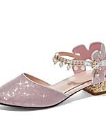 cheap -Girls' Heels Princess Shoes PU Cute Casual / Daily Lolita Big Kids(7years +) Christmas New Year Rhinestone Pink Silver Gold Fall Spring