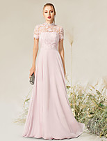 cheap -A-Line Empire Elegant Engagement Formal Evening Dress High Neck Short Sleeve Floor Length Chiffon Lace with Pleats 2021