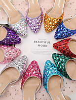 cheap -Women's Wedding Shoes Stiletto Heel Pointed Toe Wedding Sandals Party Wedding PU Crystal Sparkling Glitter Buckle Solid Colored Color Block Purple Red Light Red