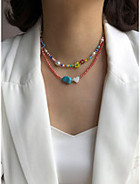 cheap -Beaded Necklace Women's Beads Flower Shape Fashion Holiday Casual / Sporty Cute Boho Rainbow 40 cm Necklace Jewelry 2pcs for Gift Holiday Prom Work Festival irregular