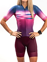 cheap -Women's Short Sleeve Cycling Jersey with Shorts Summer Black / Red Bike Quick Dry Sports Mountain Bike MTB Road Bike Cycling Clothing Apparel / Stretchy / Athletic