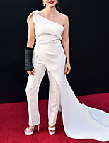 cheap -Jumpsuits Celebrity Style Elegant Engagement Formal Evening Dress One Shoulder Sleeveless Court Train Stretch Fabric with Overskirt 2021