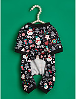 cheap -Dog Cat Jumpsuit Christmas Costume Dog clothes Geometic Snowflake Christmas Party / Evening Casual / Sporty Christmas Party Dog Clothes Puppy Clothes Dog Outfits Breathable Light Red Black Costume