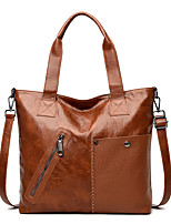 cheap -Women's Bags PU Leather Tote Crossbody Bag Top Handle Bag Zipper Plain Solid Color Vintage Daily Outdoor Retro Leather Bag Handbags Blue Black Red Brown