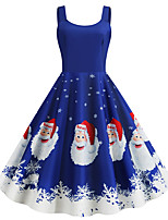 cheap -Santa Suit Dress Adults' Women's Vintage Christmas Festival Christmas New Year Festival / Holiday Terylene Purple / Blue / Gray Women's Easy Carnival Costumes Snowflake